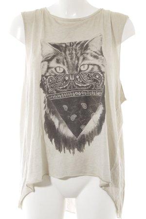 All Saints Camiseta estampada beige claro-gris oscuro estampado en partes