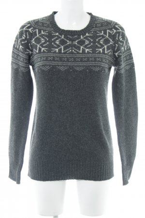 All Saints Strickpullover grau-weiß abstraktes Muster Casual-Look