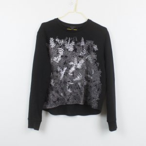 All Saints Sweater Gr. XS schwarz/silber Print (19/03/221/K)