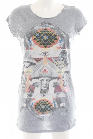 All Saints T-shirt lichtgrijs abstract patroon casual uitstraling