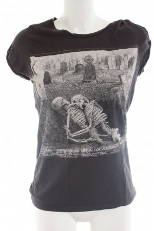 All Saints T-Shirt schwarz-hellgrau Motivdruck Casual-Look