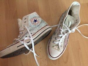 All Star Converse Chucks glitter / glitzer silber weiß