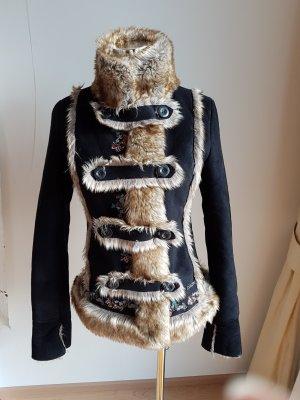 Desigual Abrigo corto marrón oscuro tejido mezclado