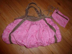 Allerletzte Reduzierung! Sessun - Stofftasche inkl. kleiner Tasche, pink-weiß,wie neu