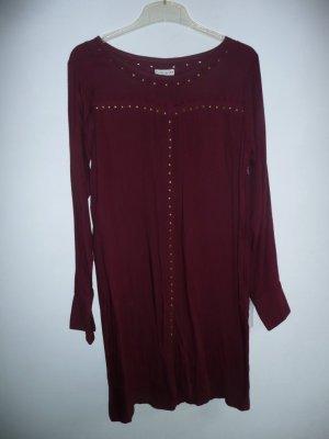 Allez Allez Tunika Kleid Viskose mit goldfarbenden Nieten Weinrot Bordeaux Gr 38