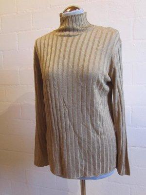 ALLISON WINGATE: Goldfarbener Lurex-Pullover, Vintage Gr. 40/42