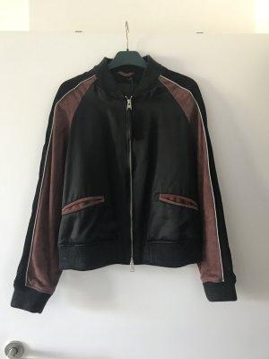 All Saints Veste en cuir noir-brun rouge