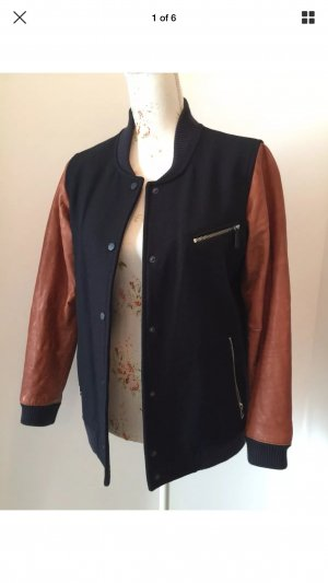 ❤️ ALLSAINTS Collegejacke Jacke Leder Wolle Gr. M