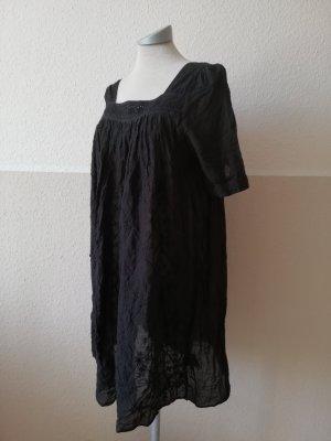 Allsaints Tunika Gr. UK 8 EUR 36 S schwarz kurzarm Tunikatop Baumwolle Spitze Häkelspitze