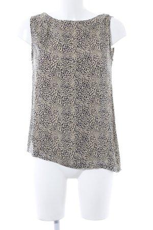 Allude ärmellose Bluse beige-schwarz Herzmuster Casual-Look