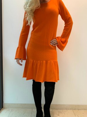 Allude Vestito di lana arancio neon Cachemire