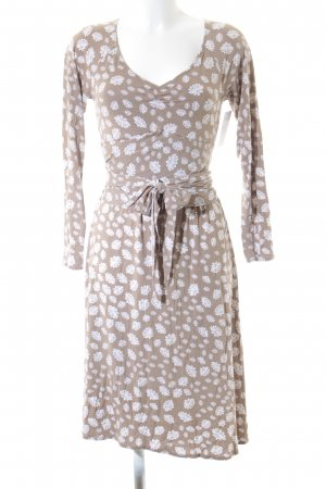 Allude Longsleeve Dress camel-natural white flower pattern romantic style
