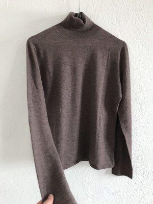 Allude Maglione dolcevita marrone-grigio-marrone chiaro