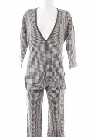 Allude Knitted Twin Set natural white-green grey houndstooth pattern casual look