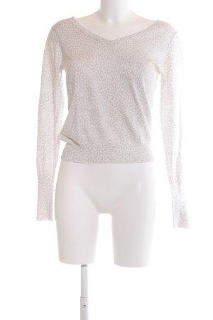 Allude V-Ausschnitt-Pullover wollweiß-weiß Allover-Druck Casual-Look
