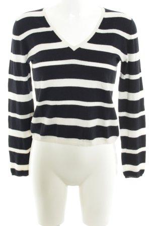 Allude Maglione con scollo a V blu scuro-bianco strisce orizzontali stile casual