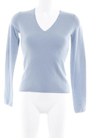 Allude V-Ausschnitt-Pullover graublau Street-Fashion-Look