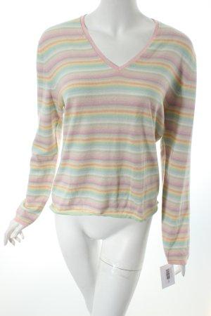 Allude V-Ausschnitt-Pullover Streifenmuster