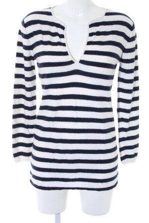 Allude V-Ausschnitt-Pullover wollweiß-dunkelblau Streifenmuster Casual-Look
