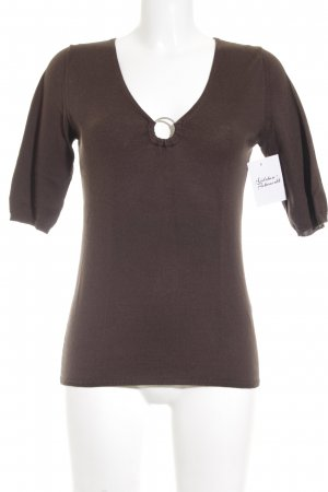 Allude T-shirt col en V brun style simple