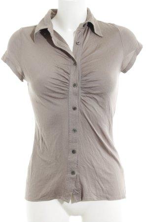 Allude V-Ausschnitt-Shirt graubraun schlichter Stil
