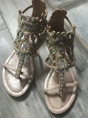Alma en Pena High-Heeled Toe-Post Sandals rose-gold-coloured-pink leather