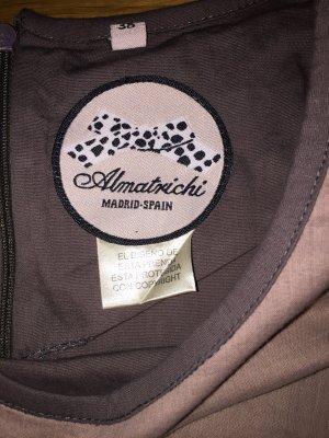 Almatrichi Robe chemisier rosé-gris lilas coton