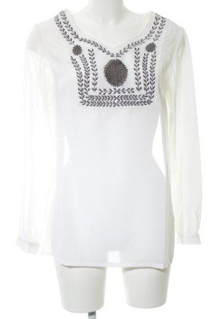 Almatrichi Blouse à manches longues blanc-gris clair motif de fleur