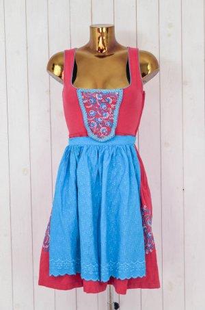 ALMENRAUSCH Damen Dirndl Tracht Kleid Schürze Baumwolle Rot Türkis Bestickt 34
