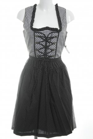 Almenrausch Dirndl black-white check pattern Ornamental buttons
