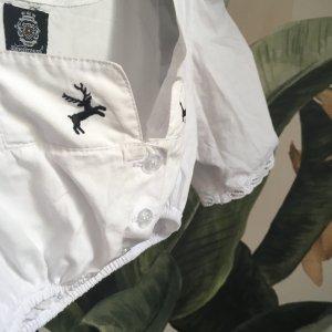 Almenrausch Dirndlbluse mit Hirsch-Motiv Gr. XS/S 34/36 Bambi in weiß schwarz