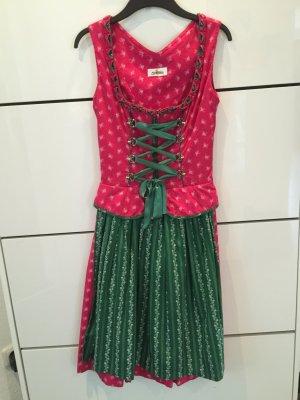 Almsach Dirndl, gr 34 mit Schösschen, Grün/pink, Knie lang