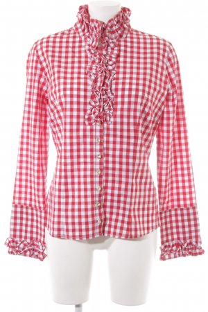 Almsach Checked Blouse dark red-natural white check pattern casual look