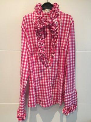 Almsach Trachten Bluse gr 36 pink/weiß