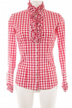 Almsach Traditional Blouse bright red-natural white check pattern country style