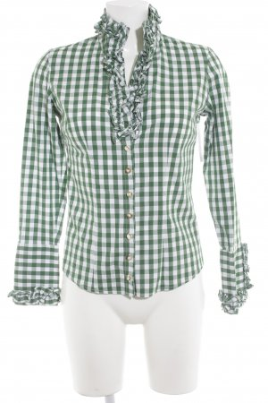 Almsach Traditional Shirt white-forest green check pattern classic style