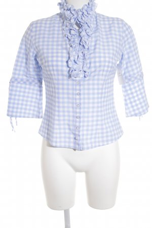 Almsach Tunic Blouse azure-natural white check pattern casual look