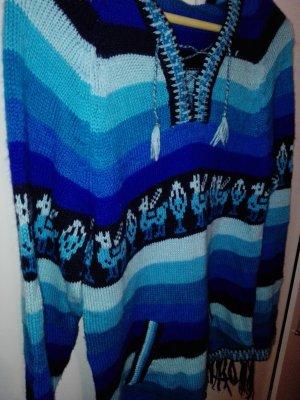 Alpaka Pullover aus Mexiko Christmas Sweater Pulli Kleid blau hellblau Lama