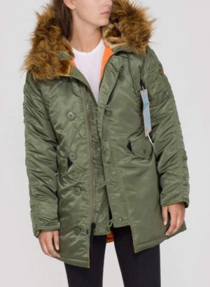 Alpha Industries Winter Coat lime-green-camel