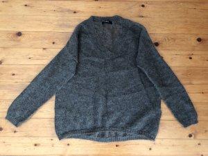 Alpha Pull en laine gris brun mohair