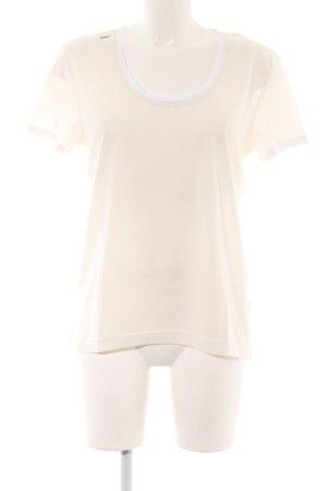 Alpha T-Shirt hellbeige-weiß Schriftzug gedruckt Casual-Look