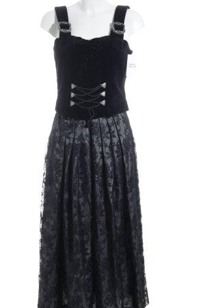 Alphorn Dirndl schwarz-graugrün florales Muster Romantik-Look