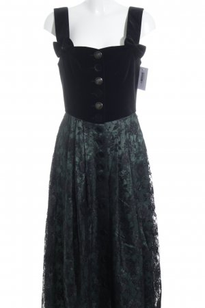 Alphorn Dirndl vert forêt-noir motif floral effet velours