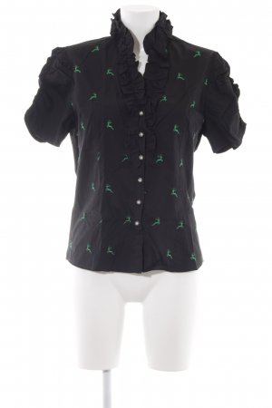 Alpin de luxe Folkloristische blouse zwart dierenprint