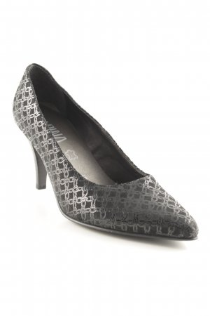 Alpina Spitz-Pumps schwarz Ornamentenmuster Business-Look