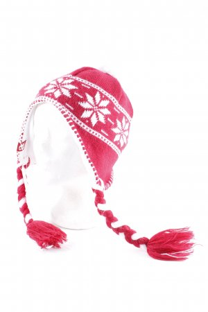 Alprausch Knitted Hat natural white-dark red star pattern fluffy