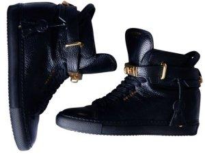 Sneaker con zeppa nero-oro Pelle