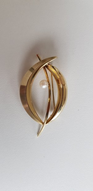 Alte Brosche Gold 333 Perle Kollmar u. Jordan Pforzheim