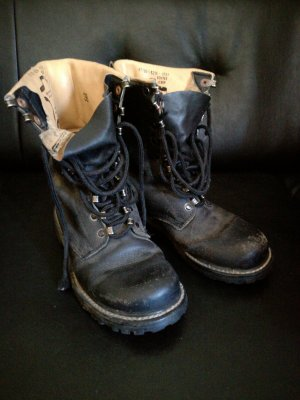 Combat Boots black-gold-colored