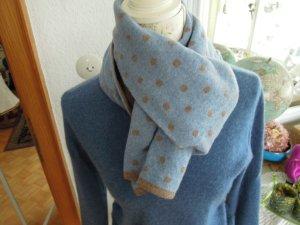 Altea Schal Punkte Hellblau Braun 80% Wolle NEU